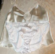 L Lot of 2 VINTAGE LINGERIE SATIN CAMISOLE & NYLON SATIN BIKINI BOTTOM
