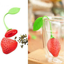1X Strawberry Shape Silicone Loose Tea Leaf Strainer Filter Herbal Spice Infuser