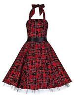 Vintage 50's Alternative Red Tartan Tattoo Flocked H/Neck Party Prom Dress 8-18