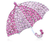 Rose Crystal Embedded Umbrella Fashion Custom jewel women Brooch Pin party gift
