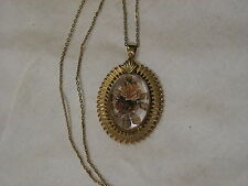 ...Gold Tone,Reverse Glass Flowers & Leaves Cameo Pendant Necklace...