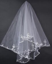 ACCESSOIRES MARIAGE CHEVEUX: VOILE TULLE BLANC - MI-LONG - BRODERIE