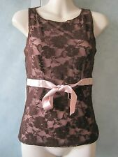 Sinequanone Paris Nylon Brown Laced Shell Ribbon Tie Lined Tank Shirt Top T 2
