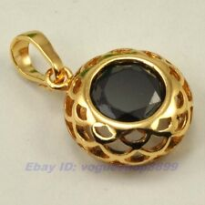 "REAL POSH 18K YELLOW GOLD GP 0.9"" NEST PENDANT 9mm BLACK GEMSTONE SOLID FILL v15"