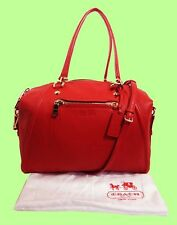COACH 34362 PRAIRIE Red Pebble Leather with Chain Satchel/Shoulder Bag Msrp $450