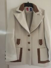Vintage Lilli Ann Beige BrownTrim Buttoned Jacket Coat 60's Lined Beautiful!!!!!