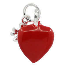 1 pcs Charm Pendants Heart Silver Plated Enamel Red 15x10mm LC0868