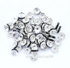 100 8mm Black Silver Plated CZ Crystal Rhinestone Spacer Loose Beads Findings F1