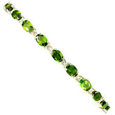 Sterling Silver 925 Oval Genuine Natural Chrome Diopside Bracelet 7 Inches