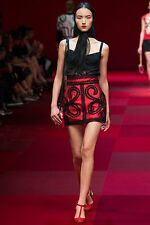 2015 DOLCE&GABBANA  RED EMBROIDERED SILK SKIRT!  ABSOLUTELY FABULOUS!