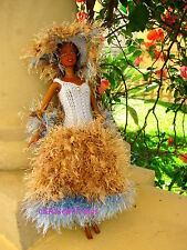 robe barbie dress faite main perle chapeau créole bleu beige  hommage lady di*