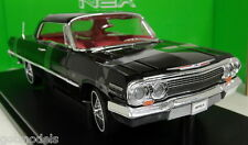NEX 1/18 Scale - 19865W 1963 Chevrolet Impala Black diecast model car