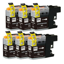 6 BLACK Printer Ink with chip for Brother LC201 LC203XL MFC J460DW J480DW J485DW