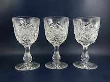 ABCG American Brilliant Libbey Cut Glass Wine Glasses Air Trapped Stems - Signed