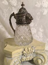 Vintage Cut Glass Creamer Or Syrup Dispenser Lion Head Spout Silver Plate