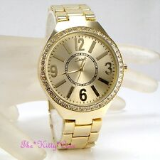 Designer Gold Plt Ladies Classical Large Dial Metal Watch w/ Swarovski Crystals