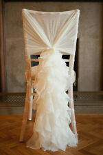 100 Ivory Chiffon Ruffle wedding chair cover hood and tail set for sale