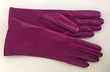 NWT Portolano Bright Pink/ Fuchsia Leather Cashmere Lined Gloves SZ 7