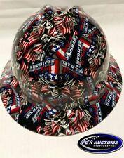 New Custom MSA V-Gard (Full Brim) Hard Hat W/FasTrac American Biker Pattern