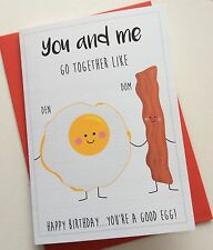 Personalised Anniversary Birthday Card: Bacon & Eggs (Funny Quirky)