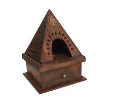 Wood Temple Pyramid Ganesh Cone burner with storage  FREE SHIPPING Hard to Find