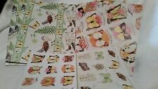 4 Piece Lot of Wrapping Paper, Butterflies, Birds, with stickers and name tags