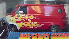 Highway 61 Collectibles 1/16th scale RED WITH FLAMES 1974 Chevy Custom Van -MIP