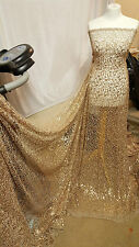 "2.5M BEIGE GOLD SPIDER WEB SEQUIN NET BRIDLE DRESS FABRIC 55""WIDE"