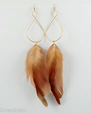 "Gold Infinity & Brown Feather Earrings Large Natural Big Elegant Figure 8"" Eight"
