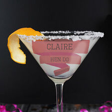 Personalised Pink Banner Cocktail Glass - Gift For Her, Hen Do, Bride to Be