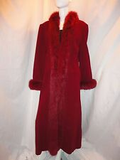 Marvin Richards Lambs Wool Fox Fur Full-length Women's Coat Burgundy/Red Sz. 12