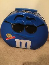 "M&M's TIN LUNCH BOX (x1) Blue With Tag 9.25"" Tall X 10"" Wide 3"" Thick"
