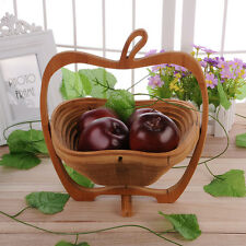 Collapsible Apple Shaped Bamboo Basket Kitchen Fruit Centerpiece Bowl Decor