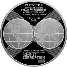 3 Rubel rubles Anniversary United Nations Ag. Corruption Russland 2015 Russia