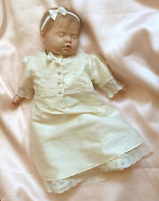 "100% silk ivory Christening Dress Jacket & Headband 0-3m baby 17-22"" reborn doll"