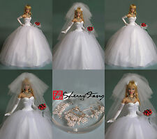 """Sherry Wedding dress Outfit for Fashion Royalty 11.5-12"""" doll STO-bride-2"""
