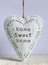 HOME SWEET HOME Vintage White Hanging Heart Metal Decoration Plaque Sign Gift