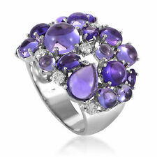 Roberto Coin Shanghai Womens 18K White Gold Diamond and Amethyst Cocktail Ring