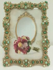 """NEW ANTIQUE LOOKING GOLD AND GREEN  PEARLS  JEWELED 4"""" X 6"""" PHOTO PICTURE FRAME"""