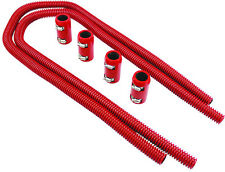 """44"""" Red Stainless Flexible Heater Hose Kit W/ Billet Clamp Covers SBC BBC SBF V8"""
