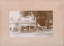 PEOPLE HOUSE FAMILY HORSES BICYCLE DOG & ORIGINAL ca 1900's PHOTO, CALAIS, MAINE