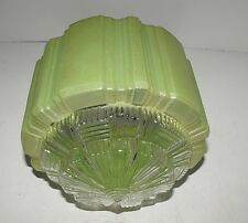 Art Deco Green Glass Light Shade Skyscraper Style with Clear Diffuser Great