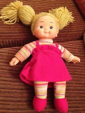 """Simba Girl Doll Dolly 15"""" Apprx Rag Soft Bodies Wool Blonde Hair Unplayed With"""