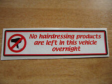 "funny warning sticker for ""hairdressers"" cars  200mm decal"