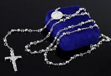 Stainless steel Necklace 4mm ball JESUS Cross Rosary chain Women jewelry silver