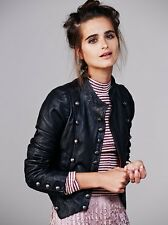 NEW WOMEN'S FREE PEOPLE BLACK LEATHER MILITARY JACKET SIZE 4