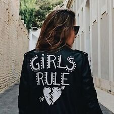 "Zara Black Faux Leather ""GIRLS RULE "" Jacket Size SMALL BNWT"