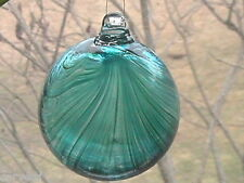 "Hanging Glass Ball 4"" Diameter Aqua with Green Swirls (1) ""Witch Ball"" HGB5"