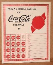 Coca-Cola COKE punch card Win a 6-bottle carton only 5c perfect Ship free 1950