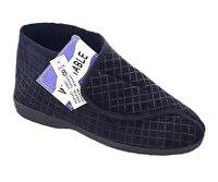 MENS WIDE FIT VELCRO SLIPPER BOOT DISABLED COMFORT WASHABLE 6 7 8 9 10 11 12 NEW